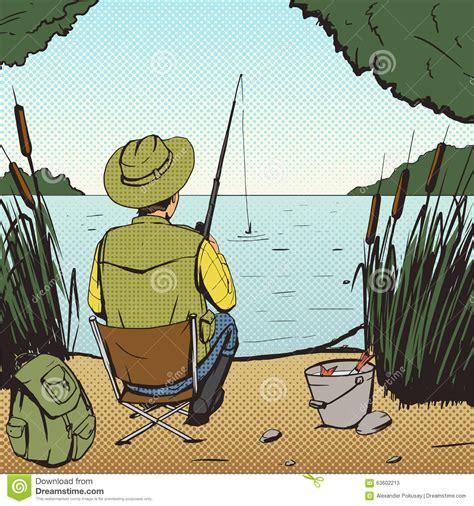 man fishing  lake pop art style vector stock vector