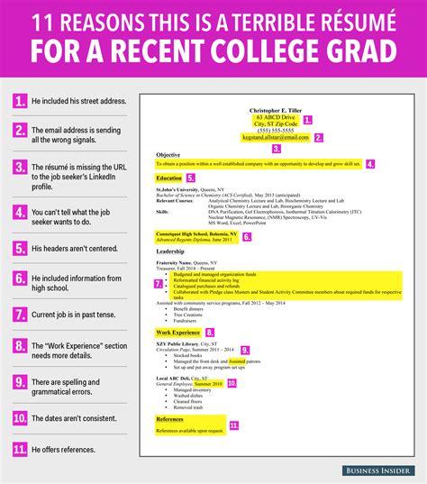 best resume for recent college graduate terrible resume for a recent college grad business insider