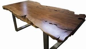Baumstamm Tisch Massiv Mit Edelstahlgestell Der Tischonkel