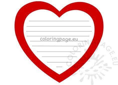 red heart shaped writing paper printable coloring page