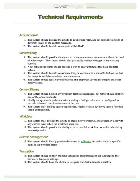 technical requirements document template everage consulting inc cms product selection process with templates