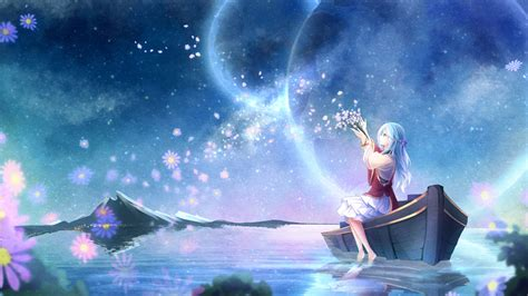 Japanese Anime Desktop Wallpaper - anime planet water flowers original characters