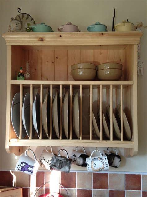 traditional vintage solid pine wood kitchen wall mountedplate rack  shelf  home