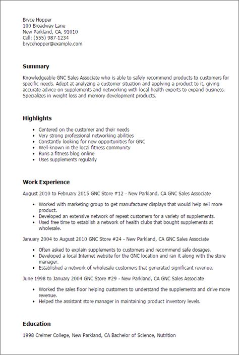 Gnc Manager Resume by Professional Gnc Sales Associate Templates To Showcase