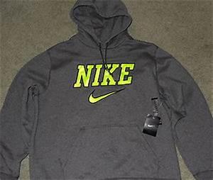 Mens Nike XL Dark Gray Neon Black Pullover Hoo