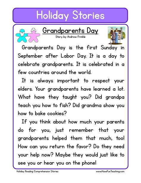 reading comprehension worksheet grandparents day