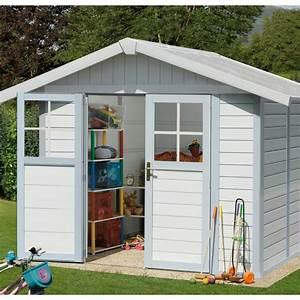 abri de jardin en pvc 49m2 blanc et gris bleu grosfillex With abri de jardin resine grosfillex