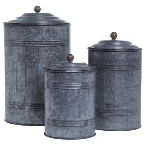 Kitchen Canisters Metal by Galvanized Canisters Set Of 3