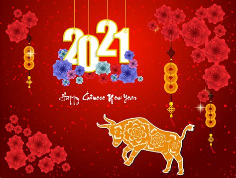 Sparkly Red Chinese New Year 2021 Poster with Ox and ...