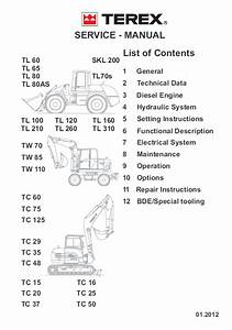 Terex Tl Tw Tc Skl Loaders Excavators Service Manual Pdf