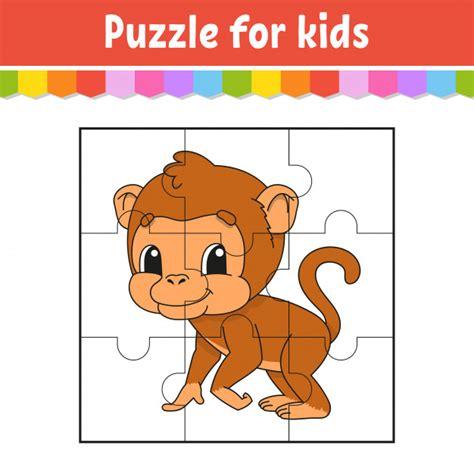 Juego de rompecabezas para niños mono marrón hoja de