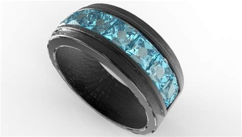 mens black gold channel set aquamarine wedding band