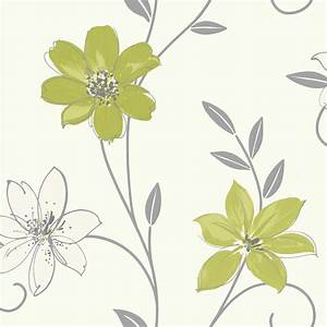Luciana Flower Floral Leaf Motif Green White Metallic ...