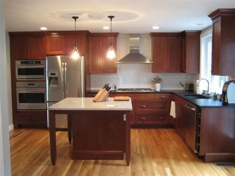 white subway or color to go with granite cherry cabinets