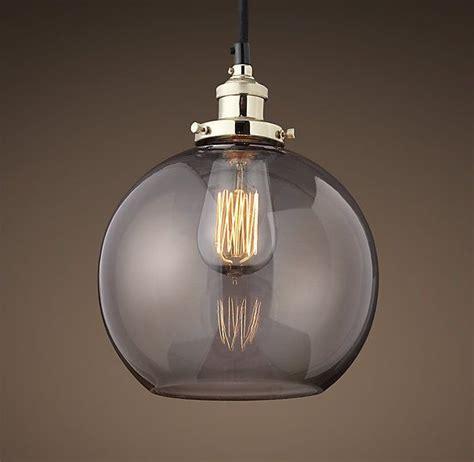 20th C Factory Filament Smoke Glass Café Pendant
