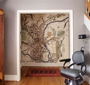 Antique Map Wallpaper Traditional Hall London By