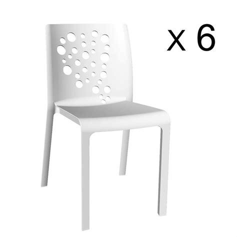 lot chaise de jardin cocktail lot de 6 chaises résine rotomoulée blanc achat