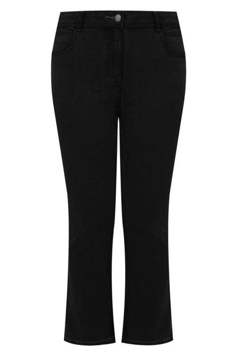 schwarze bootcut jeans mit  taschen grosse groessen