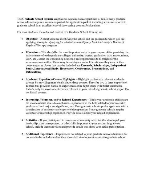 Grad School Resume by Graduate School Resume Sle Http Www Resumecareer