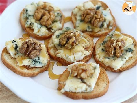 crostini  gorgonzola noci  miele ricetta petitchef