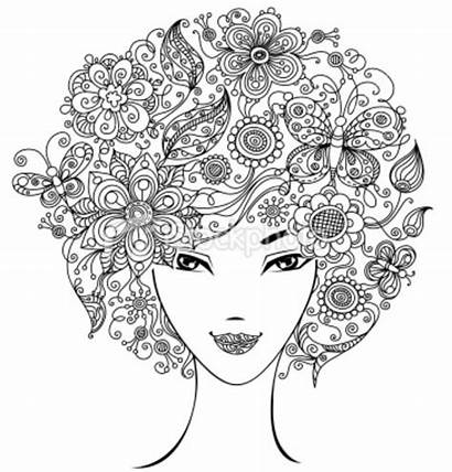 Flower Coloring Afro Pages Hair Adult Woman