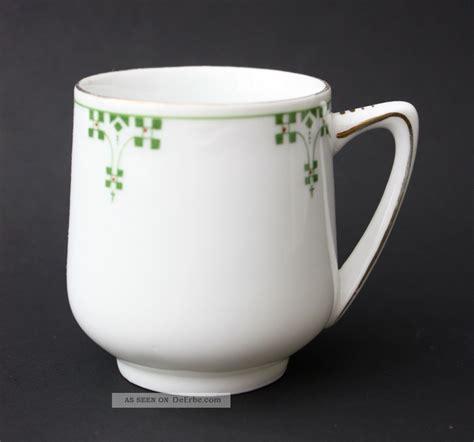 Antike Jugendstil Porzellan Kaffeetasse Grüner Dekor