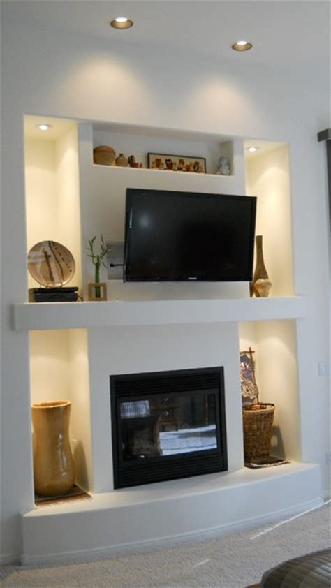 master bedroom fireplace  media wall contemporary