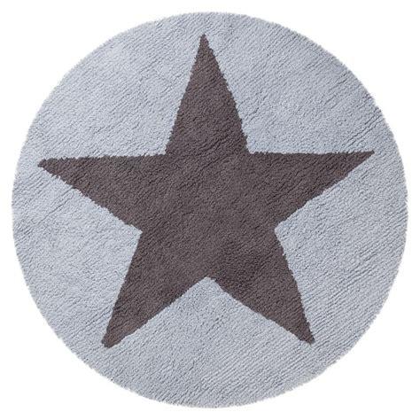 kinderteppich rund mit stern graublau zum wenden