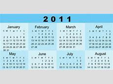 Calendario 2011 elegante y de color azul Mil Recursos