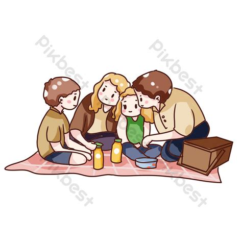 hand drawn cartoon family autumn picnic png images psd