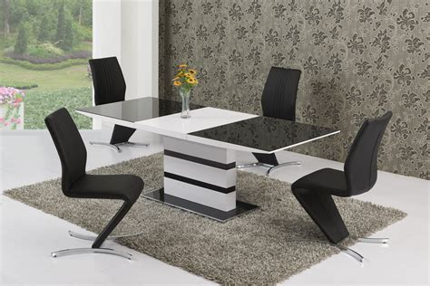 glass table six chairs 220cm extending black glass white gloss dining table and 6