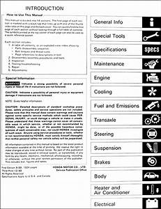 1989 Honda Civic Hatchback  U0026 Sedan Repair Shop Manual Original