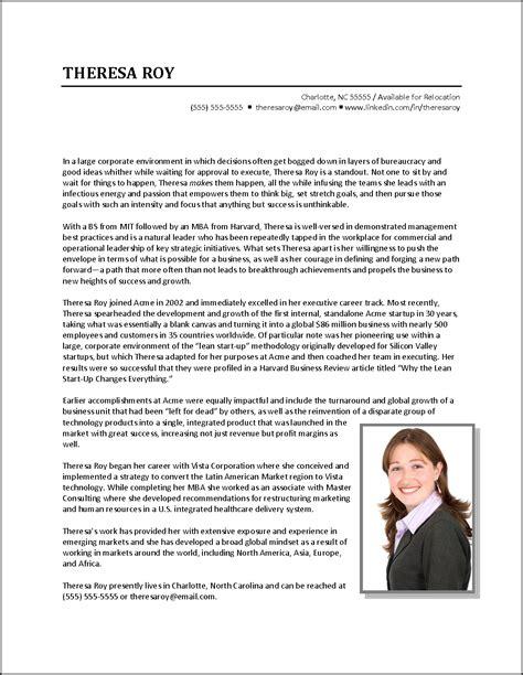 executive biography exle business development executive resume exles writing a