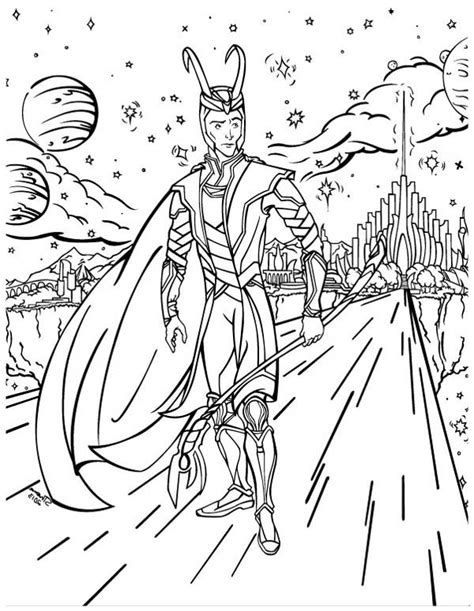 loki out of asgard in the avengers coloring page