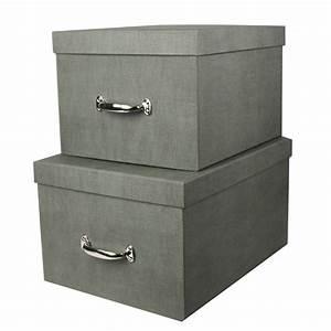 Boite Rangement Papier : grande bo te de rangement en carton gris solide et l gante ~ Teatrodelosmanantiales.com Idées de Décoration