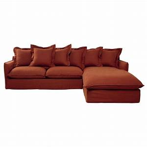 7 seater washed linen corner sofa in brick red barcelone With brick red sectional sofa