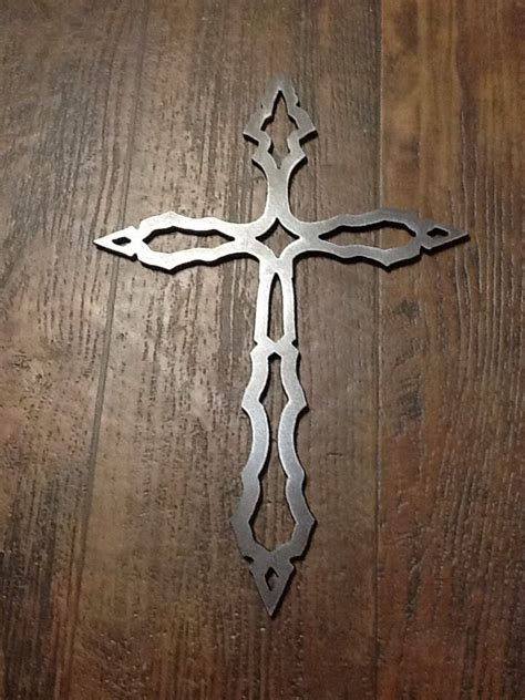 metal cross raw steel plate  thick rustic wall art