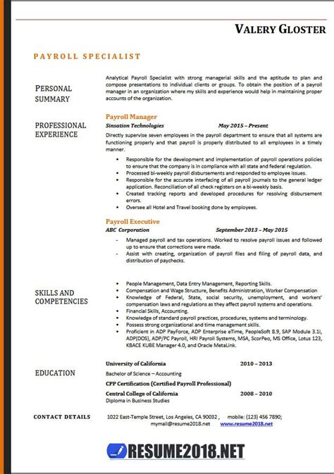 Resume Template 2018 Payroll Specialist Resume Templates 2018 Resume 2018