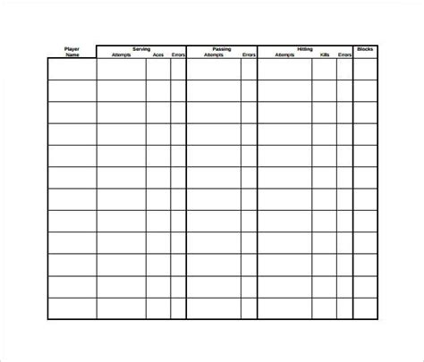 stat sheet template   word excel  documents