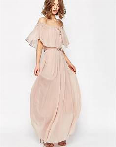 asos asos ruffle and tiered off shoulder maxi dress at asos With robe longue a volant