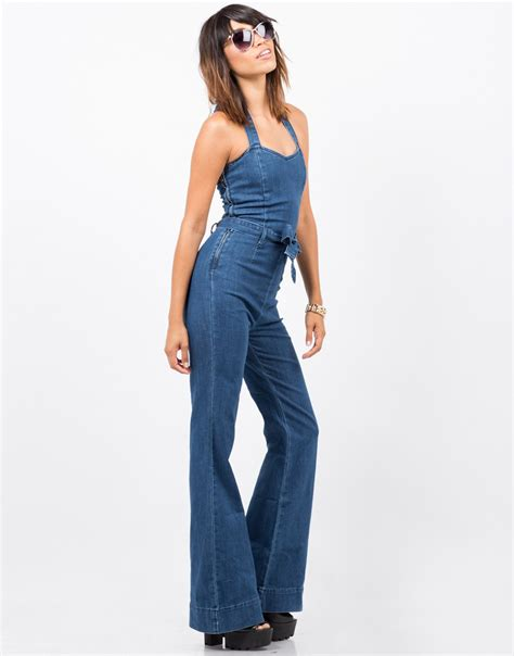 flared jumpsuit flared denim jumpsuit blue jumpsuit flare 2020ave
