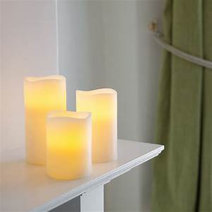 3 Wax Battery Operated Led Pillar Candles