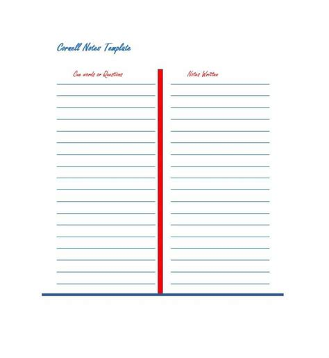 cornell notes templates examples word