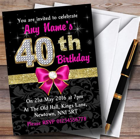 pink black gold diamond 40th birthday party personalised