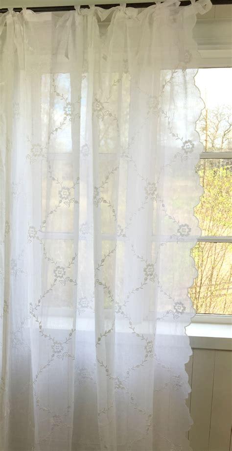 gardinen schal chiara bestickt rein weiss  oder