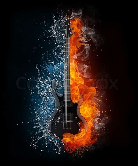 Here are the most popular versions guitar tabs, chords, bass, guitar pro. Electric Guitar on Fire and Water ... | Stock Photo ...