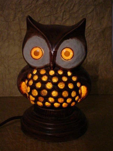 spooky vintage owl night light ceramic glowing eyes retro
