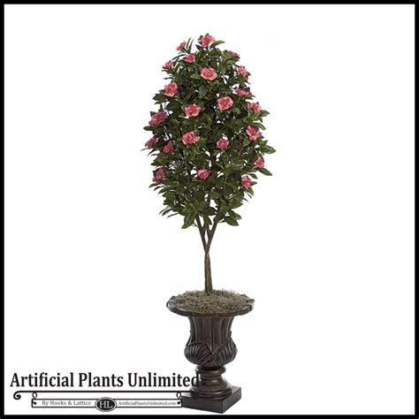 45' Artificial Flowering Pink Gardenia Topiary