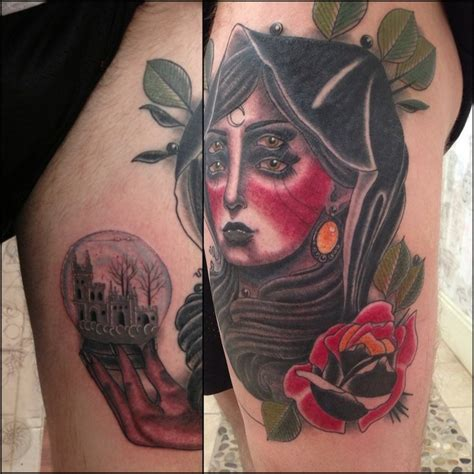 witch tattoo snowglobe rose crying moon good