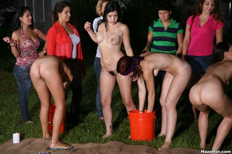 A Group Of Naked Girls With Blindfolds Have Xxx Dessert